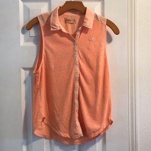 Hollister peach collard sleeveless shirt